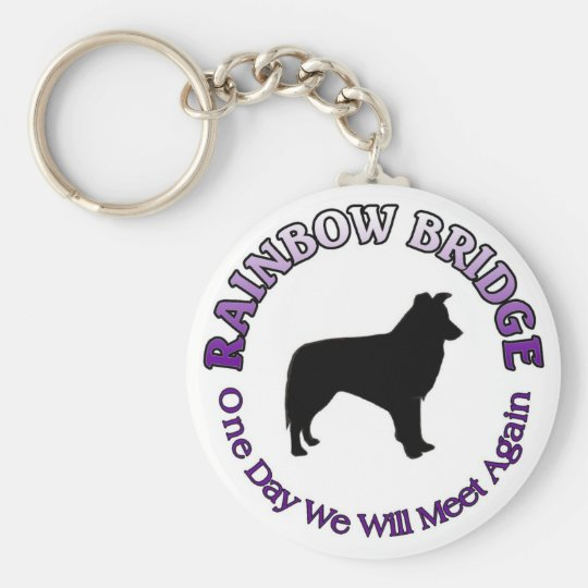 BORDER COLLIE RAINBOW BRIDGE KEYCHAIN