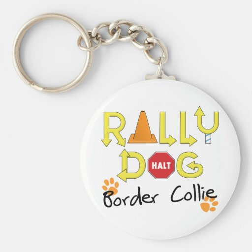 Border Collie Rally Dog Keychains