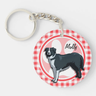Border Collie; Red and White Gingham Key Chain