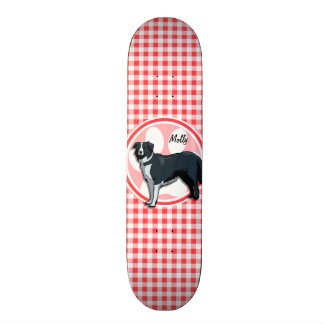 Border Collie; Red and White Gingham Skate Board Decks