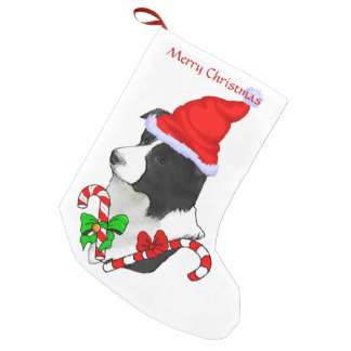 Border Collie Santa Hat Christmas Small Christmas Stocking