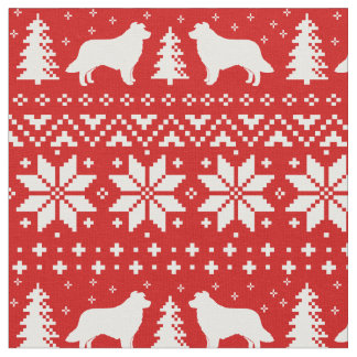 Border Collie Silhouettes Christmas Pattern Fabric