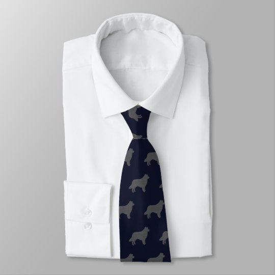 Border Collie Silhouettes Pattern Tie