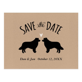 Border Collie Silhouettes Wedding Save the Date Postcard