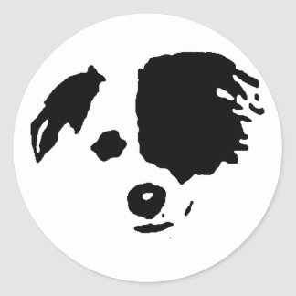 Border Collie Split Face Classic Round Sticker