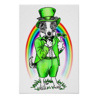 Border Collie St Patrick's Day Poster