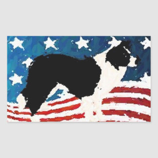 Border Collie Sticker~Memorial Day Rectangular Sticker