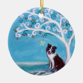 Border Collie Tree of Life Christmas Ornament