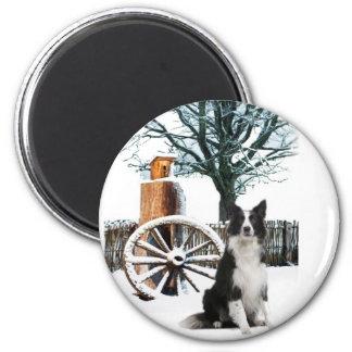 Border Collie wagon wheel winter scene 6 Cm Round Magnet
