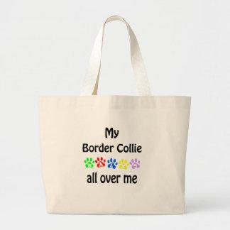 Border Collie Walks Design Large Tote Bag