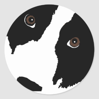 Border Collie Watching Ewe (You) Classic Round Sticker