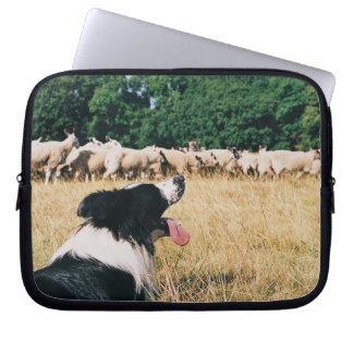 Border Collie Watching Sheep Laptop Sleeve