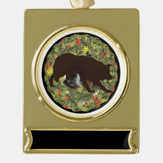 Border Collie Wreath Gold Plated Banner Ornament