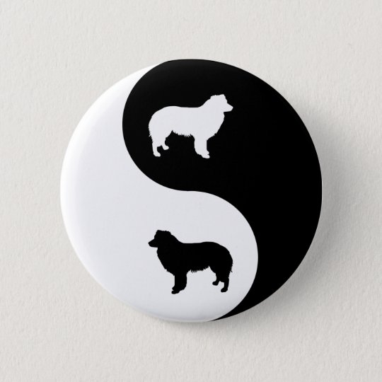 Border Collie Yin Yang 6 Cm Round Badge