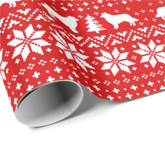 Border Collies Christmas Sweater Pattern Red Wrapping Paper