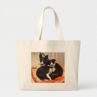 border collies large tote bag