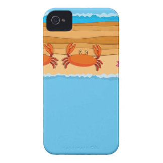 Border design with crabs on the beach iPhone 4 cases