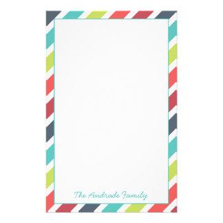 Border of Diagonal Stripes Customized Stationery