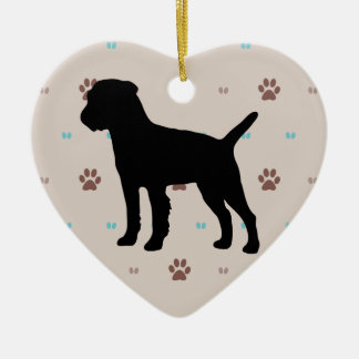 Border Terrier Ceramic Heart Decoration
