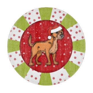 "Border Terrier Christmas Glass Chopping Board 12"""