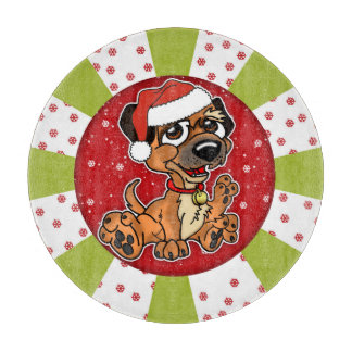 Border Terrier Christmas Glass Chopping Board 12""
