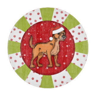 """Border Terrier Christmas Glass Chopping Board 12"""" Cutting Boards"""
