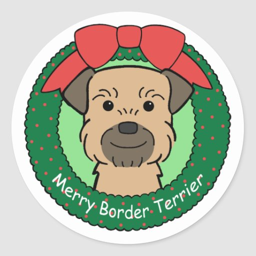 Border Terrier Christmas Round Stickers