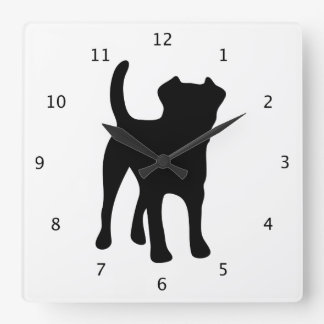 Border Terrier dog black silhouette Square Wall Clock