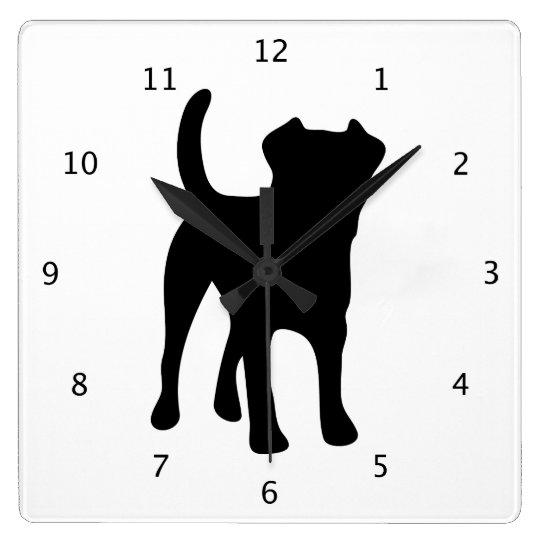 Border Terrier dog black silhouette Square Wall Clock