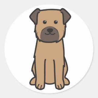 Border Terrier Dog Cartoon Classic Round Sticker