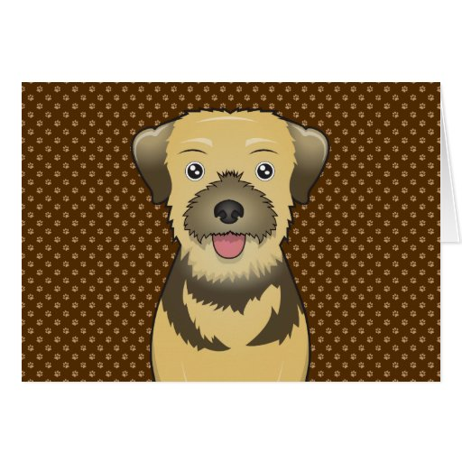 Border Terrier Dog Cartoon Paws Cards