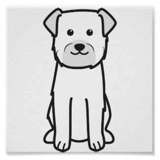 Border Terrier Dog Cartoon Poster
