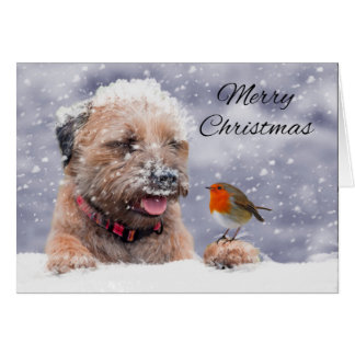 Border Terrier Dog In The Snow, Merry Christmas Greeting Card