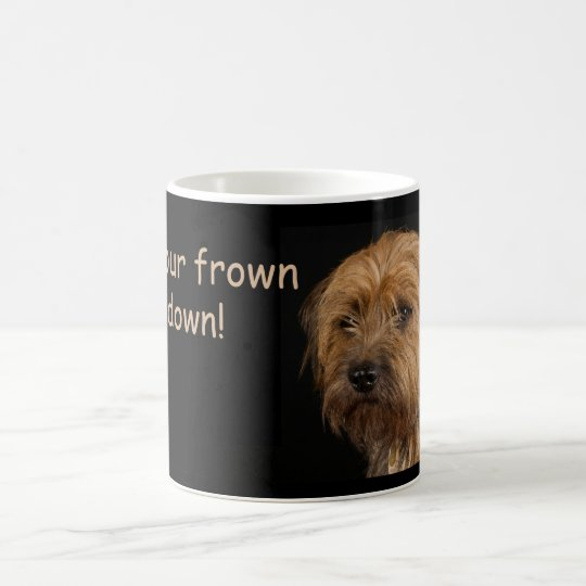 Border Terrier Dog White Mug, frown upside down
