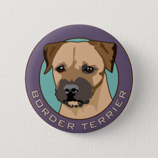 Border Terrier Head Study 6 Cm Round Badge