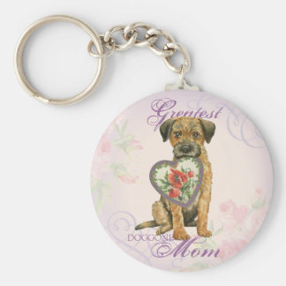 Border Terrier Heart Mom Basic Round Button Key Ring