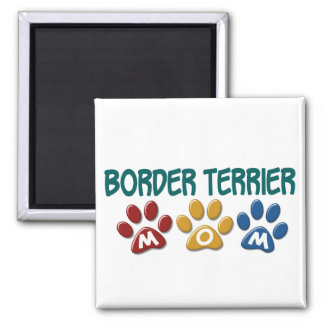 BORDER TERRIER MOM Paw Print 1 Square Magnet