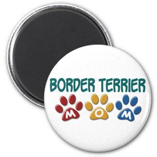 BORDER TERRIER MOM Paw Print 1 6 Cm Round Magnet