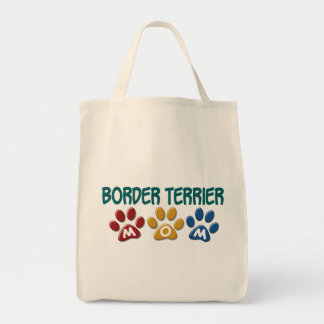BORDER TERRIER MOM Paw Print 1 Grocery Tote Bag