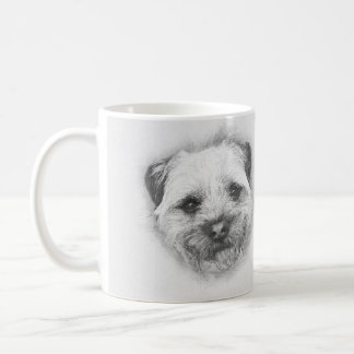 Border Terrier Pencil Sketch, Classic White Mug