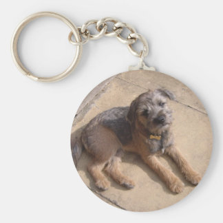 Border Terrier Puppy Basic Round Button Key Ring