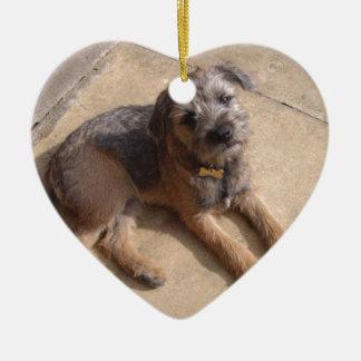 Border Terrier Puppy Ceramic Heart Decoration