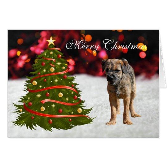 Border Terrier puppy dog custom Christmas Card