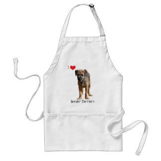 Border Terrier puppy dog I love heart apron, gift Standard Apron