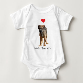 Border Terrier puppy dog I love heart Baby Bodysuit