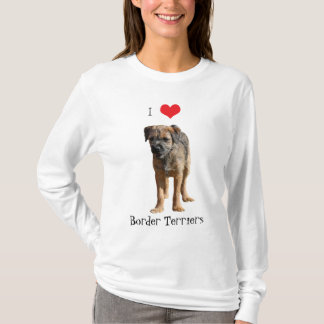 Border Terrier puppy dog I love heart t-shirt