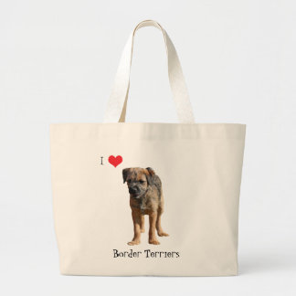 Border terrier puppy dog love heart tote bag, gift jumbo tote bag