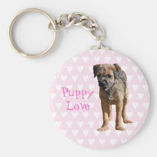 Border terrier puppy dog, puppy love keychain