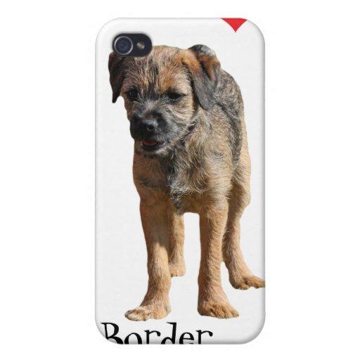 Border Terrier puppy, I love heart iphone 4 case