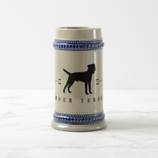 Border Terrier silhouette -1- Beer Steins